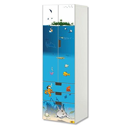 Unterwasserwelt Möbelfolie   SC3K06   passend für die Kinderzimmer Aufbewahrungskombination STUVA von IKEA   Klebe-Folie passgenau für Schrank und Kommode mit 3 Fächern   Möbel Nicht Inklusive
