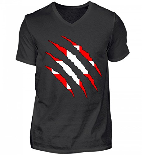 PlimPlom Hochwertiges Herren V-Neck Shirt - Schweiz WM Fan Tshirt Schweizer Nationalmannschaft Shirt Trikot