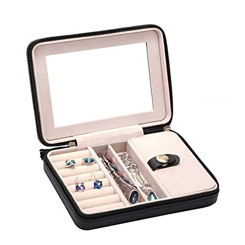 Adesign Pequeña Caja de joyería Collar Anillo Organizador de Almacenamiento Mini Caja de joyería Doble Capa Viaje Organizador de joyería para Mujeres Regalo de niñas/Negro