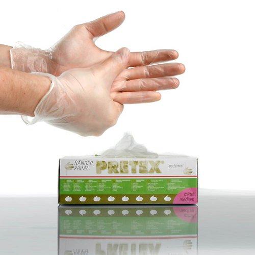 Sänger PRIMA Pretex, Vinyl Handschuhe, Größe: M, 100 Stück pro Packung
