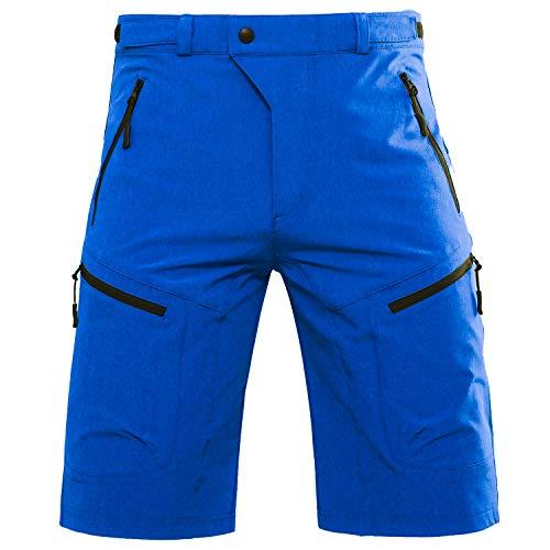 Hiauspor Pantalones de ciclismo MTB para hombre, para bicicleta de montaña, para exteriores, color azul brillante, talla S
