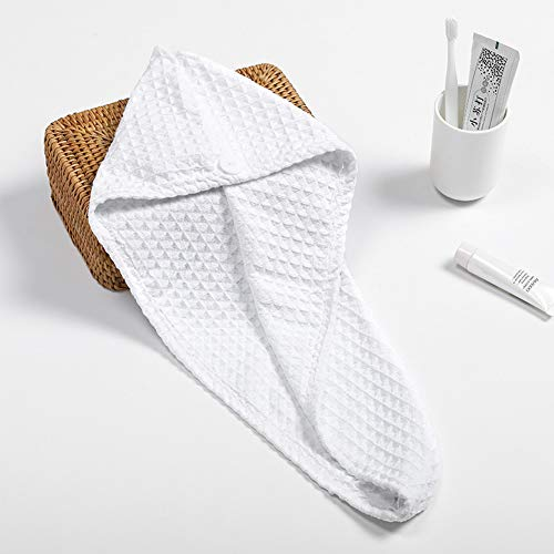 LZC Waffle Dry Hair Cap Super Absorbent Adult Shower Cap Plain Variety Styles to Choose Dry Hair Towel, E