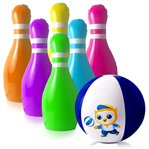 GoSlaz Giant Inflatable Bowling Pins - Outdoor Lawn Bowling Play Set for Kids - Back Yard Large Plastic Bowling Game Play Set - Indoor Party Game - for Toddlers Boys and Girls Ages 3-12 Years Old