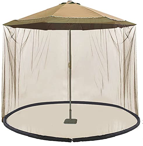 Gafrem Outdoor Patio 9' Umbrella Cover Mosquito Netting Table Screen with Zippered Net Canopy Mesh, Height and Diameter Adjustable Fits 9FT Umbrellas (Khaki)