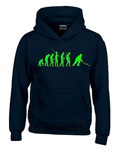 Coole-Fun-T-Shirts Eishockey Evolution Kinder Sweatshirt mit Kapuze Hoodie schwarz-Green, Gr.140cm