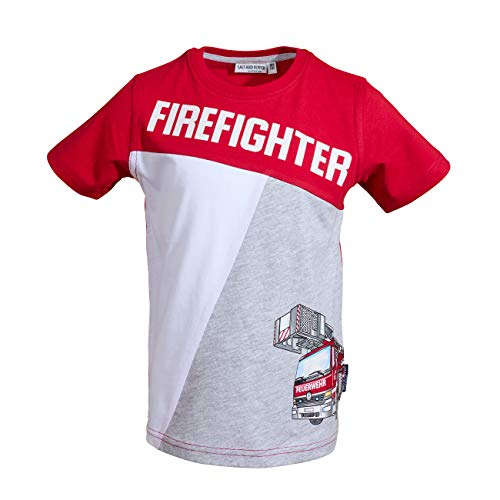 SALT AND PEPPER Jungen Rescue Firefighter pri T-Shirt, fire red, 92/98