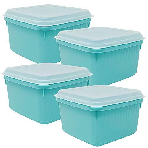 Codil 4×Recipientes de Almacenamiento,Envases Cocina,Contenedores Reutilizables,Fiambreras de Plástico,Cuadrado con Tapas Flexibles,para Congelar Almacenar y Mantener Alimentos Frescos,Verde,2L