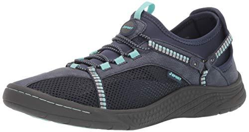 JSport by Jambu Women's Tahoe Encore Sneaker, Navy/Light Turquoise, 8 M US
