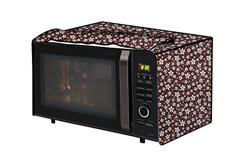 The Furnishing Tree Microwave Oven Cover for LG 21 L Convection MC2146BP Floral Pattern Brown