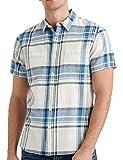 Lucky Brand Men's Short Sleeve Button Up Two Pocket Jaybird Workwear Shirt, Blue Plaid, XL