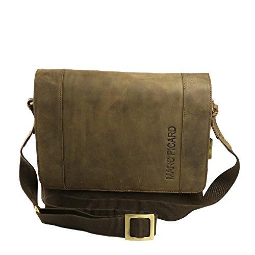 Jenes&Jandura Handgearbeitete hochwertige, handschmeichelnde Marc Picard Leder Tasche Umhängetasche Schultertasche Messenger Bag 28x30x9 (BxHxT) (Tobacco)