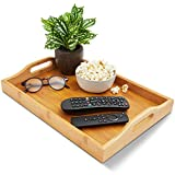 Bamboo Wood Serving Tray with Handles for Food (16 x 11 x 2 Inches)