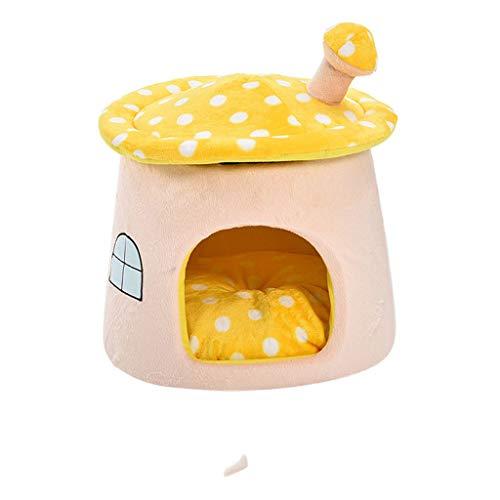 zlw-shop Cama para Mascotas Amarillo pequeños Hongos Mantener el Calor en Invierno casa del Gato, de la Perrera, casa del Gato Canasta para Mascotas