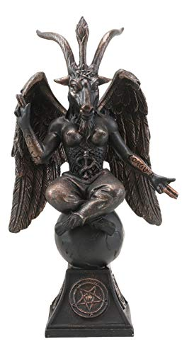 Ebros Gift Church of Satan Sabbatic Goat Idol Baphomet Resin Statue Satanic Occultic Illuminati The Horned God Goat of Mendes Altar Sculpture Figurine (6.5