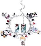 Demon Slayer Cosplay Earrings and Bracelets, Anime Bracelet, Kimetsu No Yaiba Novelty Charm Earrings Anime Stuff Manga Series - Good Ideal for Women and Girl (A)