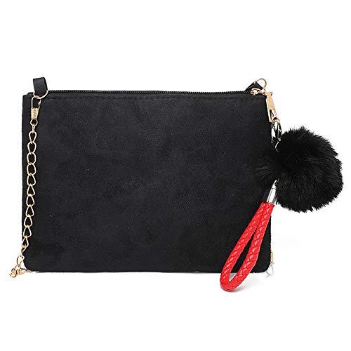OSYARD Damen Lässigen Kette Handtasche Modisch Schultertaschen Messenger Bag mit Pompon, Damen Tasche Clutch Bag Hochzeit Abendtasche Umhängetasche