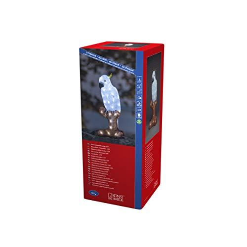 Konstsmide, 6276-203, LED Acryl Papagei, 48 kalt weiße Dioden, 24 Außentrafo, weißes Kabel