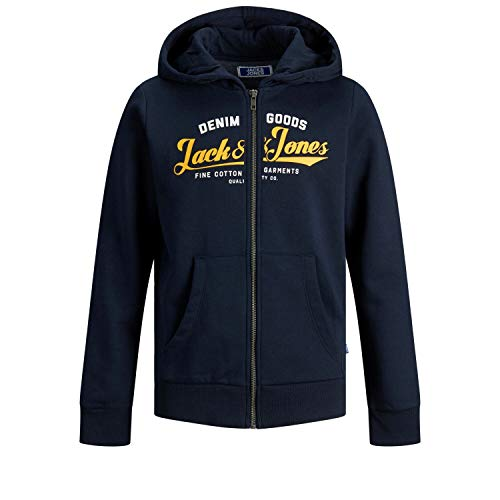Jack & Jones Junior Boys JJELOGO Zip Hood 20/21 NOOS JR Cardigan Sweater, Navy Blazer/Print:Hawaiian Sunset Print, 140/