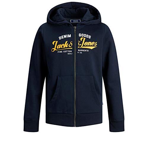 Jack & Jones Junior Boys JJELOGO Zip Hood 20/21 NOOS JR Cardigan Sweater, Navy Blazer/Print:HAWAIIAN SUNSET PRINT, 176/