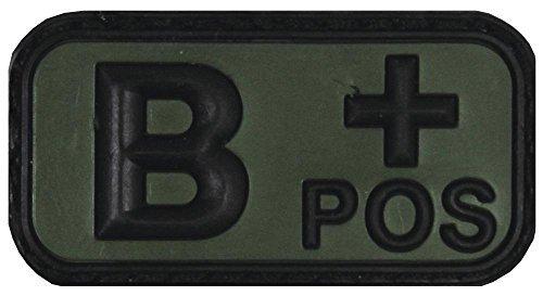 Klettabzeichen noir/olive, groupe sanguin «pOS» b 3D