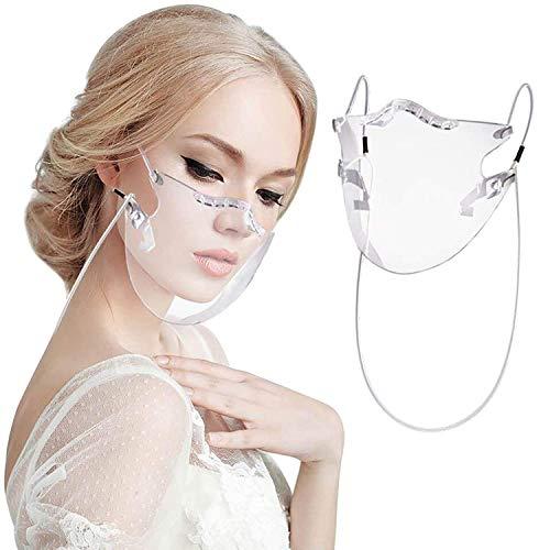 Unisex Trasparente mascherine in plexiglass Durevole Plastica Riutilizzabile PVC Trasparente Anti Fog per Uomini Donne (A-1pc)