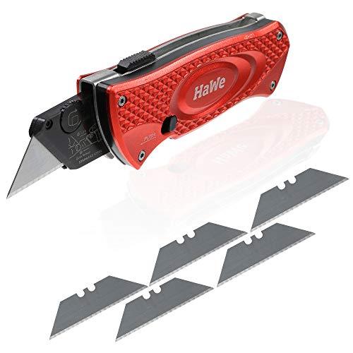 HaWe Cuttermesser Teppichmesser mit Ersatzklingen extrem scharf (Cuttermesser mit 5 Ersatzklingen)