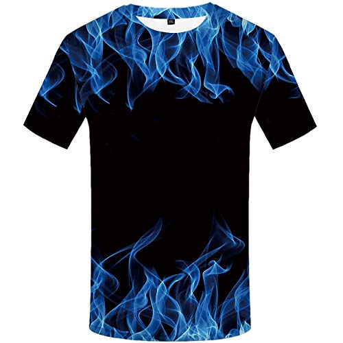 KYKU Blue Flame Shirt for Men 3D Print Graphics Funny T Shirts with Fire Cool (Small, Flame T Shirts)
