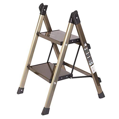 HTL Pratico piccolo sgabello Sgabello moda moderna pieghevole domestica Ladder ultra-sottile in alluminio Scala Sgabello Rack oro,Oro,47.5 * 49 * 64 cm