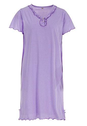 Zeitlos Nachthemd Kurzarm Sommer Punkte Schlafshirt Rüschen, Farbe:Flieder, Größe:L