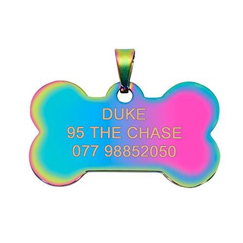 NGHSDO Placas para Perros 2 PCS Personalizado Perro Perro ID Etiqueta Acero Inoxidable Etiquetas Personalizadas Personalizadas Grabado Placa de Mascotas Placa Accesorios para Mascotas 2