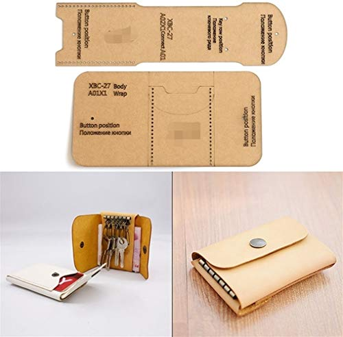 NO LOGO 1set DIY Lederhandmade Geldbörse Schlüsseletui Schnittmuster Hart Kraft Paper Stencil Schablone 4cm * 24.5cm