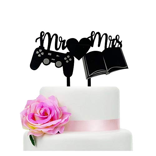 Mr & Mrs Wedding Cake Topper with Gamepad and Book, Romantic Style Wedding Cake Topper, Creativity Wedding Cake Topper, Black Silhouette Cake Topper(Book)