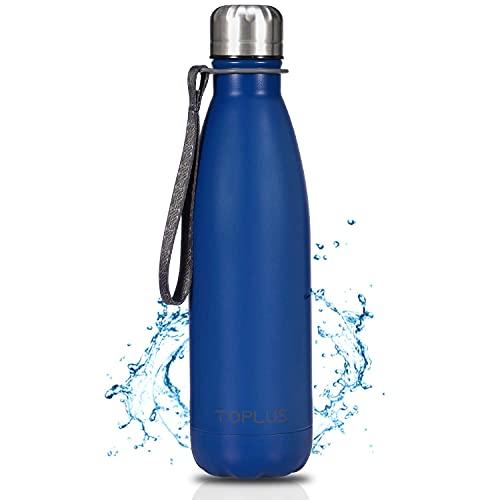 Trinkflasche Auslaufsicher, TOPLUS 500ml Thermosflaschen Edelstahl, BPA-Frei Wasserflasche, Vakuum-Doppelschicht, für kohlensäurehaltige Getränke