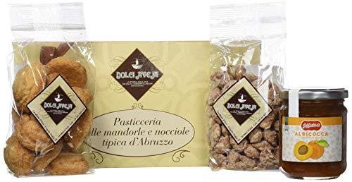 Dolci Aveja - Pacco Goloso - Amaretti 200g, Nocci Interrati (Mandorle Pralinate) 200g, Confettura Extra di Albicocche Offidius 220g
