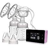 Tire-lait électrique, tire-lait double Tire-lait portable avec écran tactile LCD intelligent avec 4 modes, 10 niveaux d'aspiration du lait maternel, massage du sein