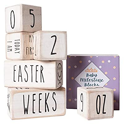 Baby Monthly Milestone Blocks - 6 Blocks, The Most Complete Set, Baby Photography Props for Social Media, Rustic Baby Nursery Decor (White)