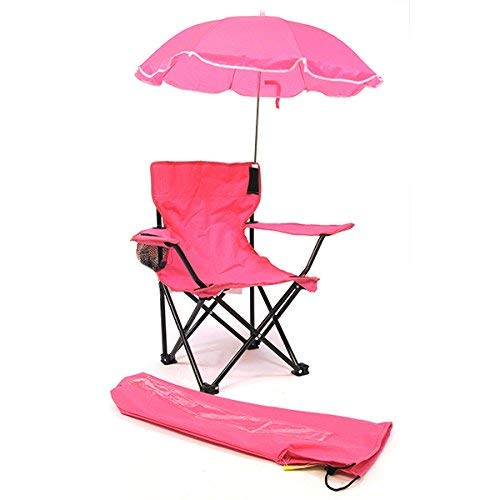Redmon Beach Baby Kids Camp Chair with Carry Umbrella & Matching Tote Bag, Hot Pink