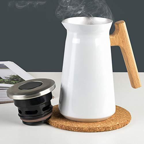 Isolierflaschen Doppelschicht Vakuum Kaffeekanne /Weiß Druckverschluss Isolierkanne Isolierflaschen Mit Holzgriff 12h hei | 24h kalt | Push-on Design Ideal als Kaffeekanne oder als Teekanne Weiß 1L