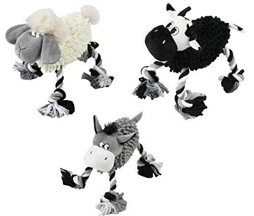 PETGARD Hundespielzeug Plüschspielzeug Kuscheltier Zerrspielzeug Farmtiere Kuh+Schaf+Esel