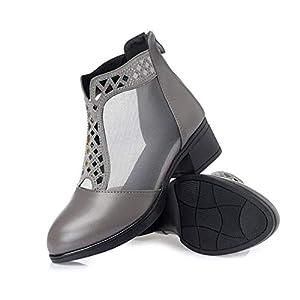 [ムリョシューズ] 美脚サンダル ブーツサンダル サマーブーツ サンダル 痛くない靴 疲れない靴 サマーブーツ ブーサン シースルー グレー 透かし 25.5cm スパンコール レース 美脚 ブーツ サマーブーツ 夏ブーツサンダル チャンキーヒール 歩きやすい 疲れにくい