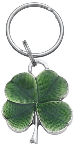 DANFORTH - Clover Pewter Keyring (Green) - 1 1/2 Inch - Handcrafted - Made in USA