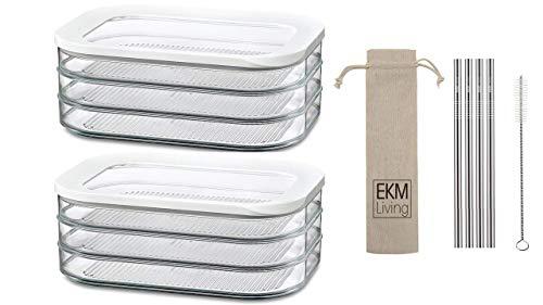 Rosti Mepal 2er Set Kühlschrankdose Modula Aufschnitt 550/3 Weiß + Gratis 4er Set EKM Living Edelstahl Trinkhalme