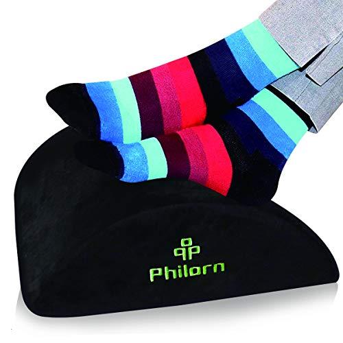 PHILORN Fußstütze Kissen unter dem Schreibtisch, Ergonomisches Fußkissen mit Schwamm hoher Dichte für Richtige Haltung und Bein, Hüfte, Knie Stressabbau in Büro und Haushalt (Flanell)