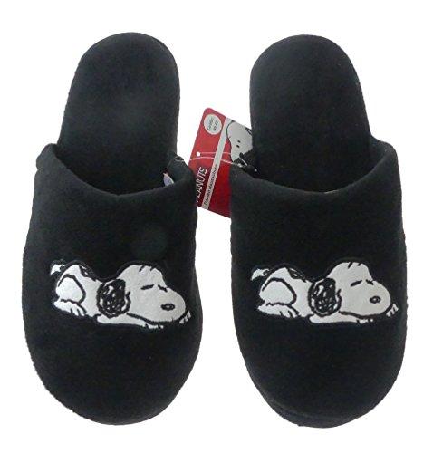 Hausschuhe Snoopy Damen weich Disney Peanuts schwarz warm Kinder Schlappen Slipper (40-41)