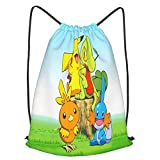 Pokemon School Sports Bag Drawstring Backpack Waterproof Gym Big School Bag Daily Rucksack Travel Swimming Bag Children Girls Boys Students Drawstring Strap Pack