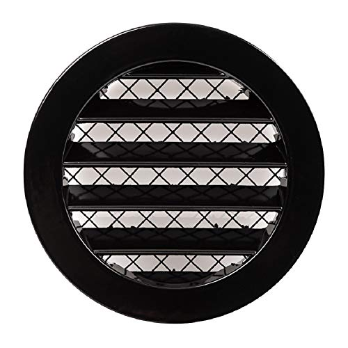 Ø 80mm 3' Rejilla de ventilación redonda de aluminio negro - Cubierta de ventilación de aire con malla