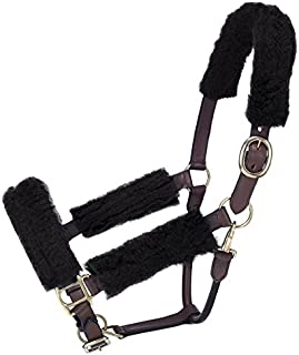 Tough-1 Horse Halter Fleece Kit Set. 4 Piece Set. Covers Halter and Protects Horses Face. (Black)