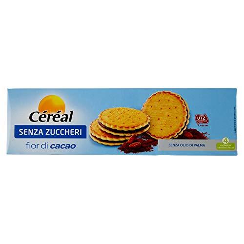 Céréal Biscotti SENZA ZUCCHERO con cacao sostenibile UTZ, Fior di Cacao merendine dolci senza zuccheri - 200 g