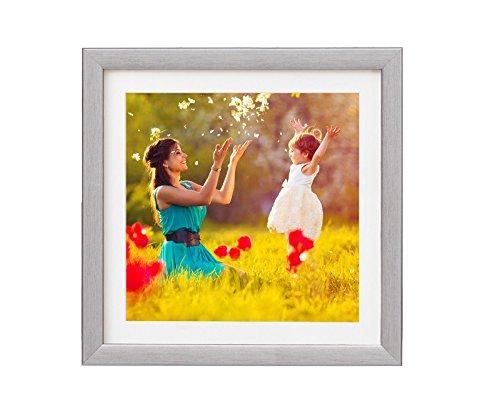 Artepoint Holz - Rahmen für Bilder quadratisch 15x15 20x20 25x25 30x30 40x40 50x50 mit weißem Passepartout Rahmen zum Aufhängen Farbe Grau-Silber - Format 25x25