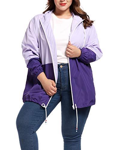 Women's Plus Size Rain Jacket Lightweight Hooded Rain Coat Windbreaker Purple 4X-Large